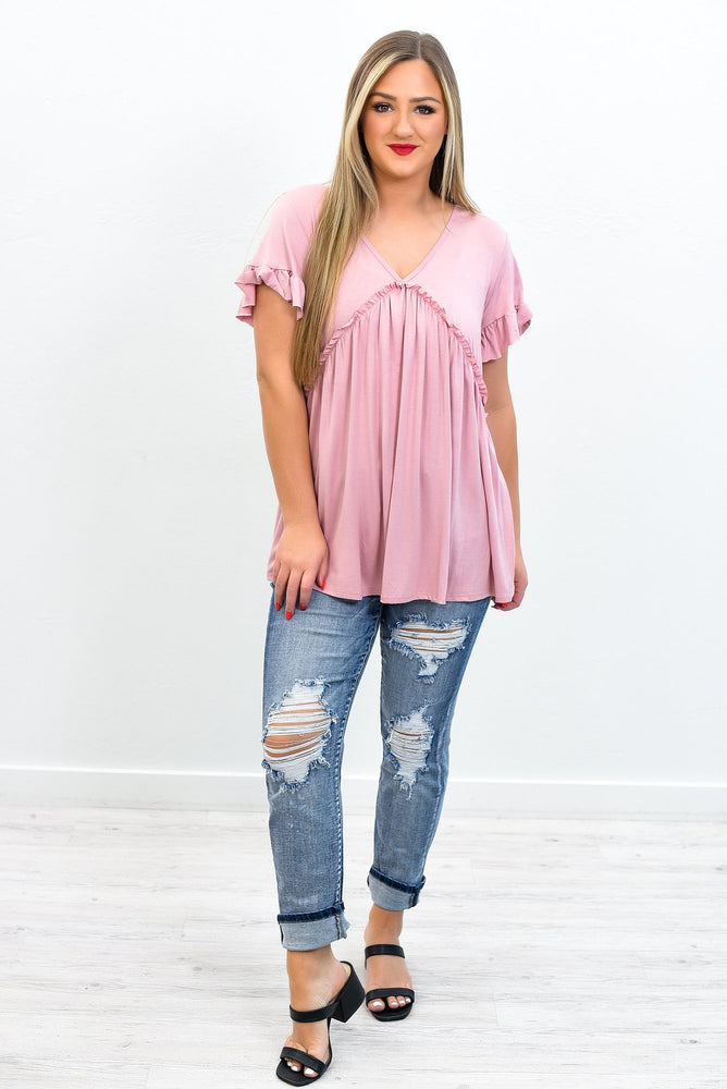 Streets Of Memories Dusty Pink V Neck Top - T319DPK