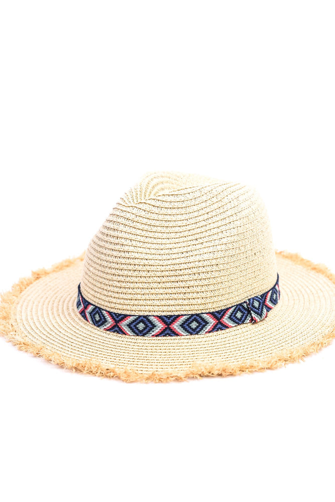 Natural/Navy Fedora Hat With Aztec Printed Band - HAT1148NA