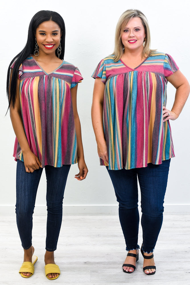 Best Version Of You Magenta/Mustard Serape Top - T331MG