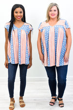 Land Of The Brave Blue/Red/Ivory Star/Striped V Neck Top - T337BL