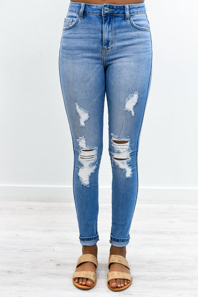 Denim Memories Light Denim Distressed Jeans - K627DN