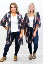 My Infinite Love Charcoal Gray/Ivory Longhorn Sheer Kimono - O3147CG