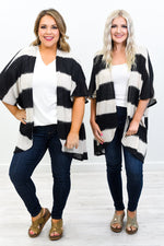 It's A Beautiful Day Black/Beige Striped Knitted Kimono - O3146BK