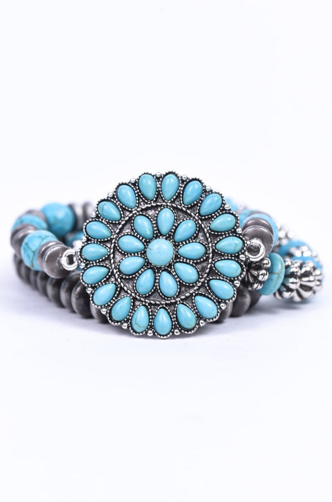 Turquoise/Silver/Gray/Marble/Beaded/Stackable Stretch Bracelet - BRC3049TQ