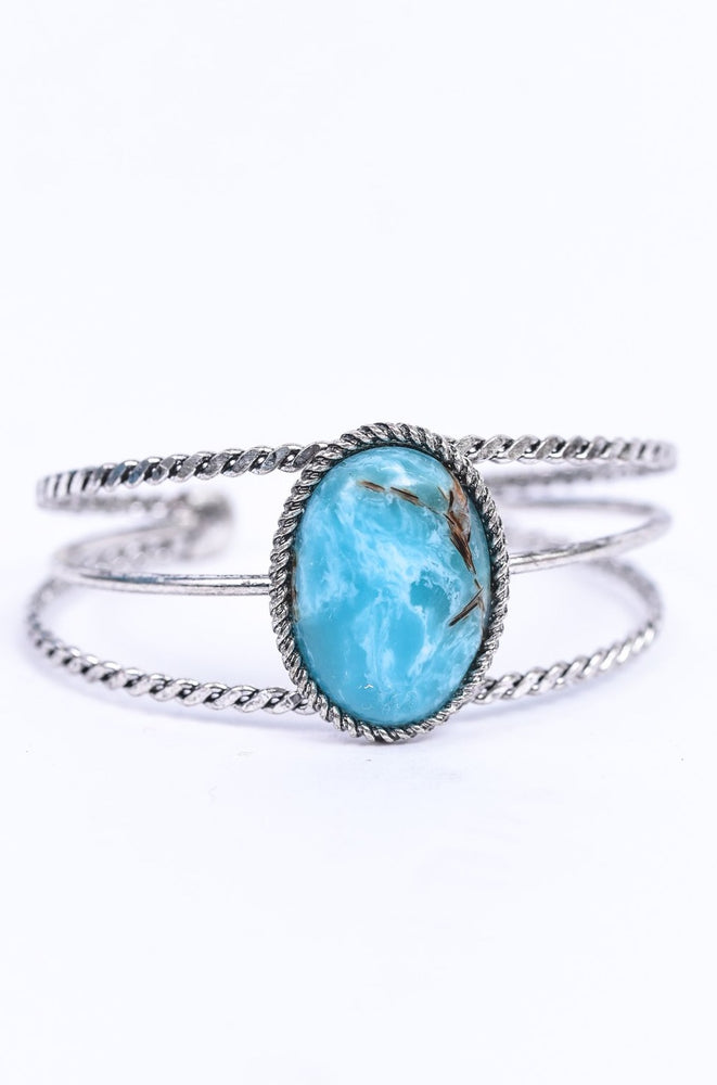 Turquoise/Silver/Marble Cuff Bracelet - BRC3047TQ