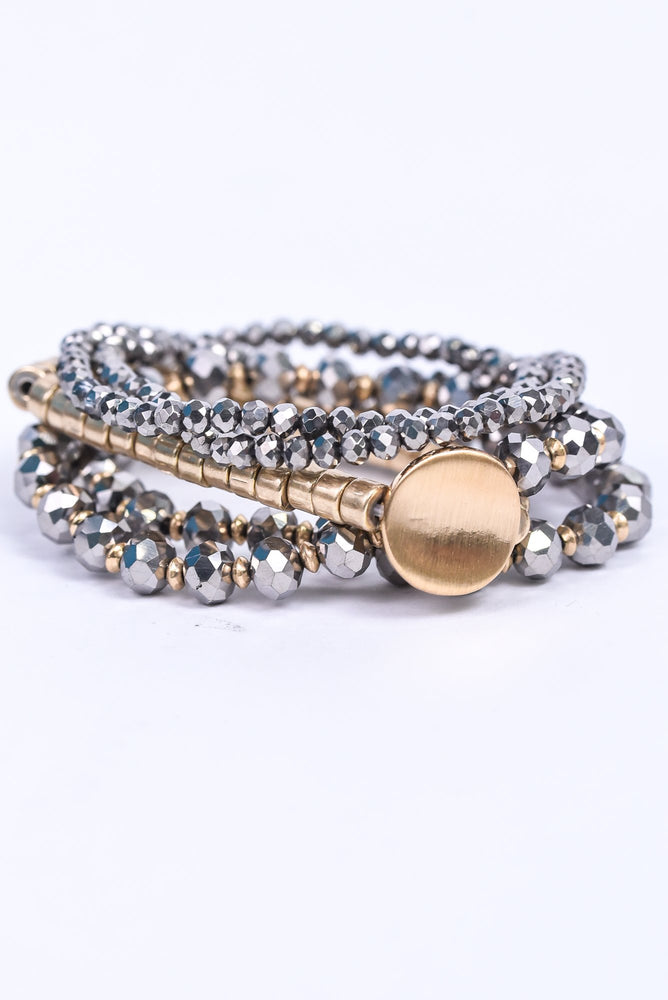 Gold/Gray/Glass Beaded/Stackable Stretch Bracelet - BRC3035GO