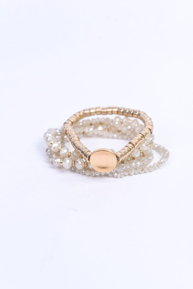 Ivory/Gold/Glass Beaded/Stackable Stretch Bracelet - BRC3037IV