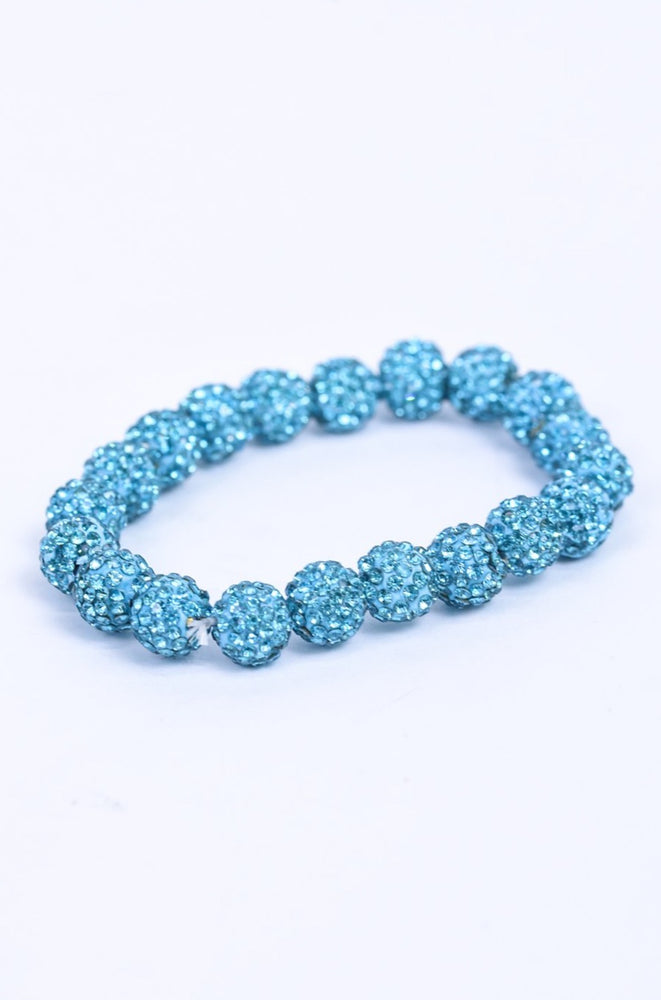 Turquoise Crystal Bling Stretch Bracelet - BRC3042TQ