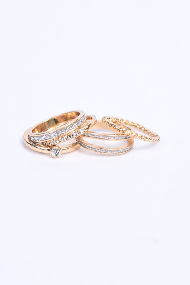 Gold/Bling 5-Piece Ring Set - RNG1096GO