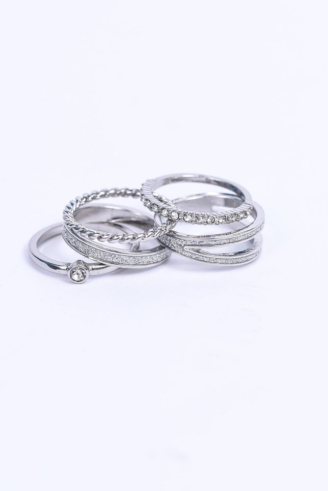 Silver/Bling 5-Piece Ring Set - RNG1097SI