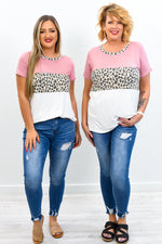 Everything Is Perfect Dusty Pink/Leopard Colorblock Top - T389DPK