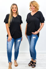 It Must Be Fate Black Solid V Neck Top - T388BK