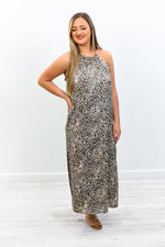 Fearlessly Authentic Brown Leopard Sleeveless Maxi Dress - D3748BR