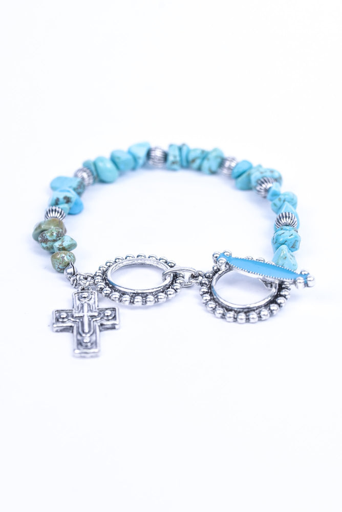 Turquoise/Silver/Marble/Rock/Beaded/Cross Charm Bracelet - BRC3055TQ