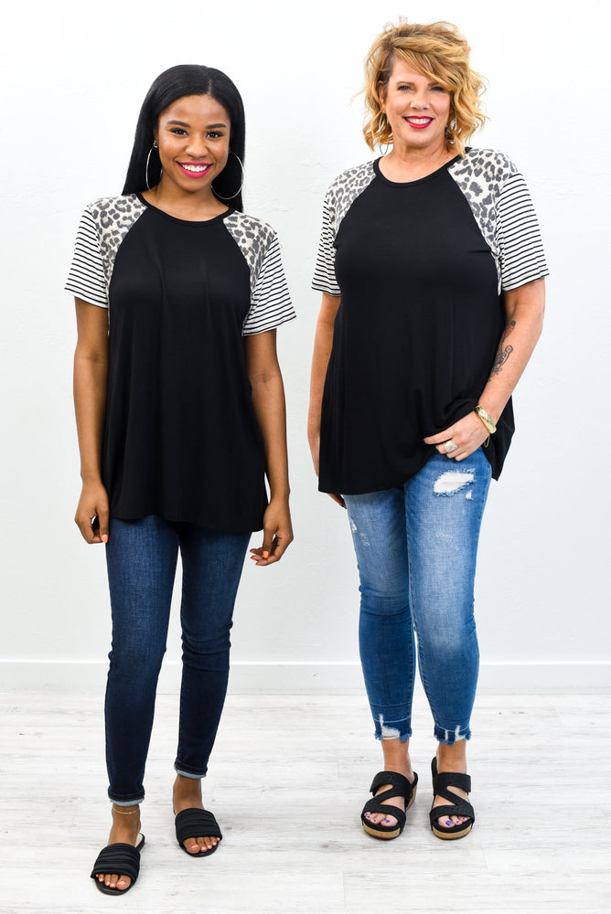 Share The Love Black/Ivory Striped/Leopard Top - T380BK