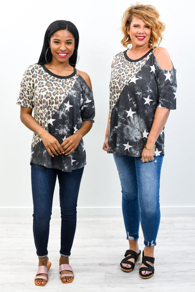 Faith Of The Heart Taupe/Charcoal Gray Star/Leopard Open Shoulder Top - T387TA