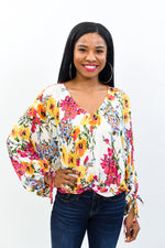 Invest In Yourself Off White/Multi Color Floral V Neck Top - T400OW