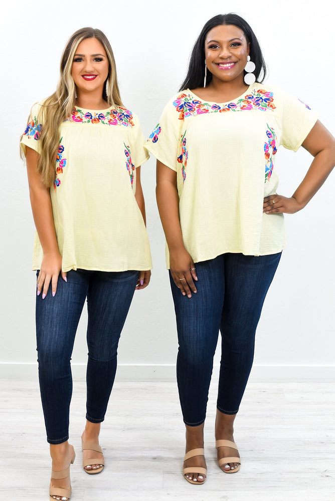 Share Your Passion Yellow/Multi Color Floral Top - T413YE
