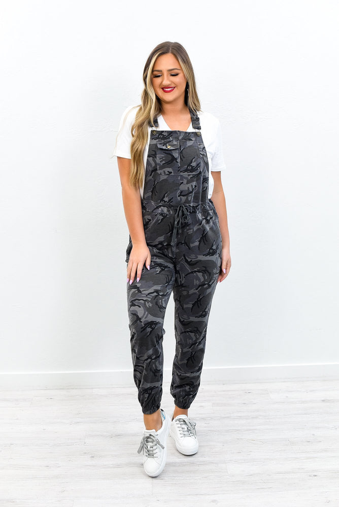 Dressed In Delight Gray Camouflage Overalls - PNT1187GR