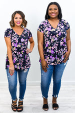 Paris Travels Navy/Lavender Floral V Neck Top - T439NV