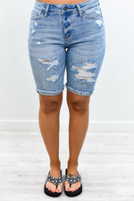 Denim Escape Light Denim Distressed Bermuda Shorts - I1282DN