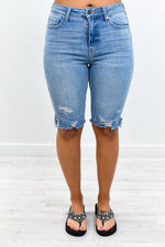 Denim Spectacular Light Denim Distressed Bermuda Shorts - I1284DN