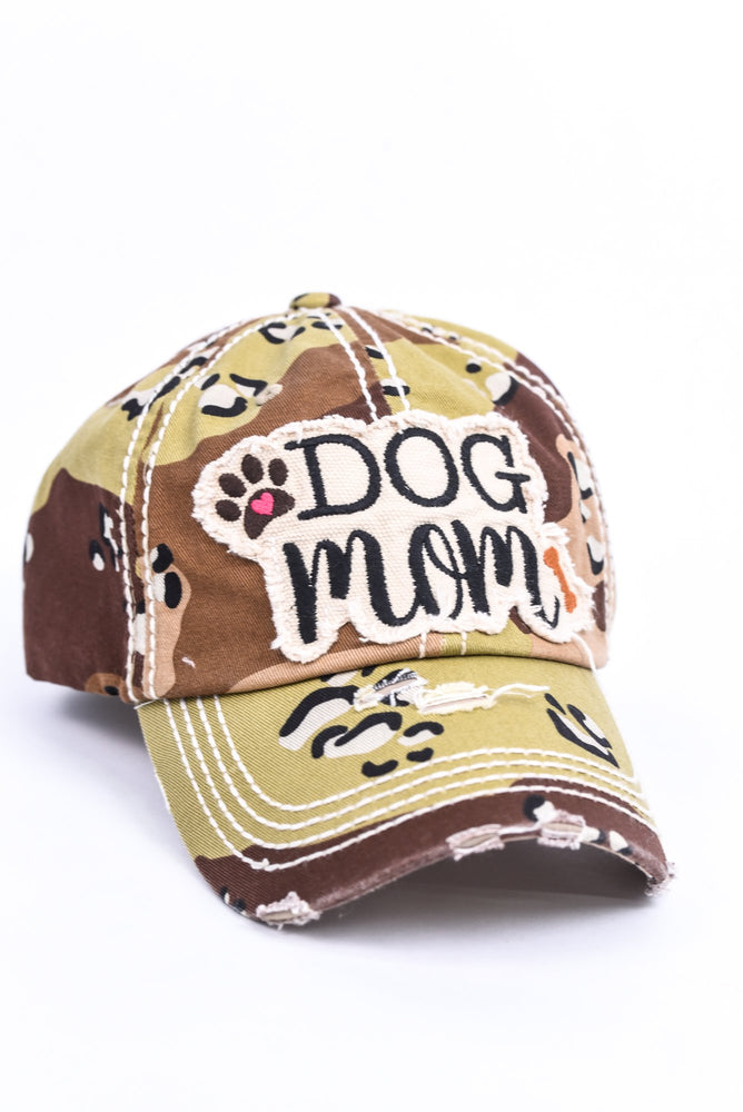 "'Dog Mom"" Tan/Brown Camouflage Distressed Hat - HAT1248TN"