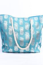 Join The Club Turquoise/Silver Pineapple Tote Bag - BAG1522TU