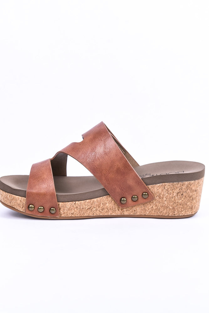 One Step Closer Cognac Leopard Wedge Sandals - SHO2036CGN