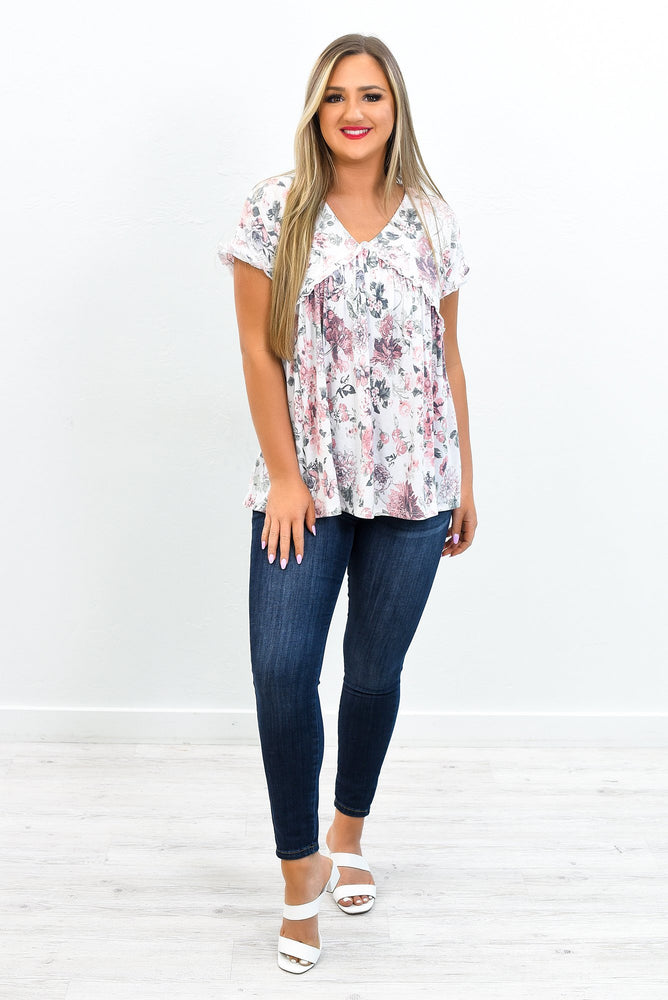 Fingers Crossed Ivory/Mauve Floral Babydoll Top - T431IV