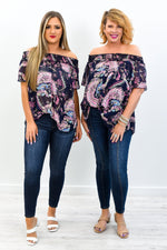Good To Go Navy/Pink Multi Patterns Sheer Off The Shoulder Top - T428NV
