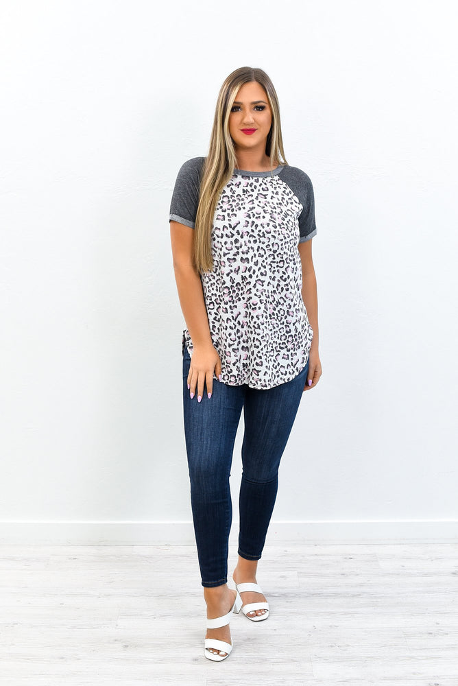 Timeless Beauty Charcoal Gray/Rose Leopard Top - T446CG