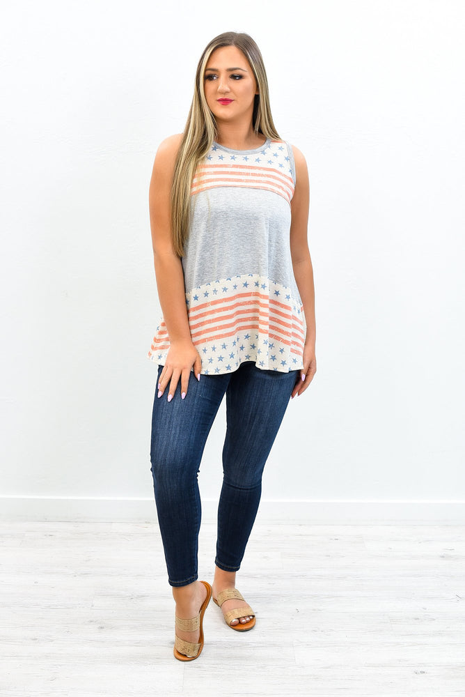 I Love This Land Gray/Red Star/Stripe Sleeveless Top = T396GR