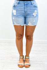 Denim In The Sun Light Denim Distressed Shorts - I1286DN