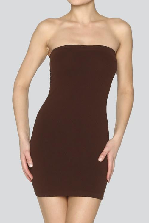 Brown Tube Slip Dress-SLP444BR-Tee for the Soul