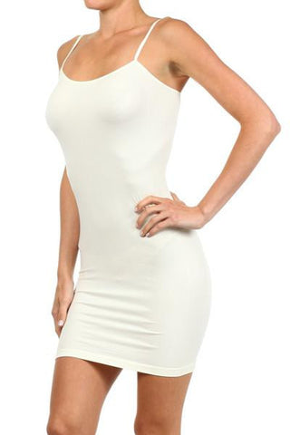 Cream Cami Slip Dress - CAM011CR-Tee for the Soul