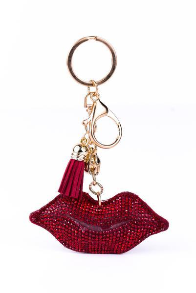 Red Lips With Tassel Keychain - KEY1018RD