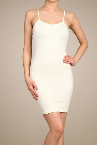 Cream Cami Slip Dress (Sizes 12-18) - SLP004CR-Tee for the Soul