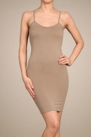 Mocha Cami Slip Dress-CAM011MO-Tee for the Soul