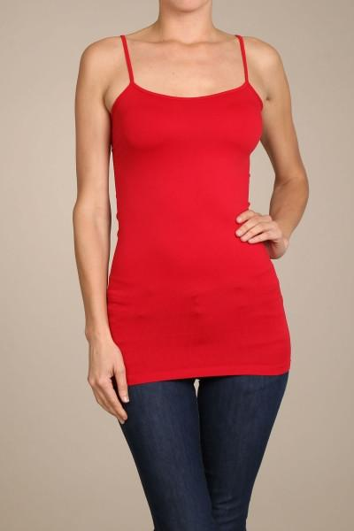 Red Basic Seamless Cami (Sizes 12-18) - CAM909RD-Tee for the Soul
