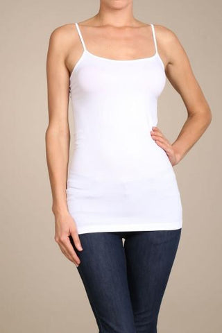 White Basic Seamless Cami (Sizes 12-18) - CAM909WH-Tee for the Soul