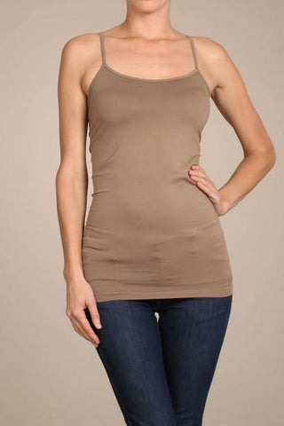 Mocha Basic Seamless Cami (Sizes 12-18) - CAM909MO-Tee for the Soul