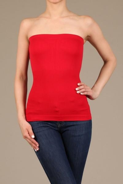 Red Seamless Tube Top - TUB347RD-Tee for the Soul