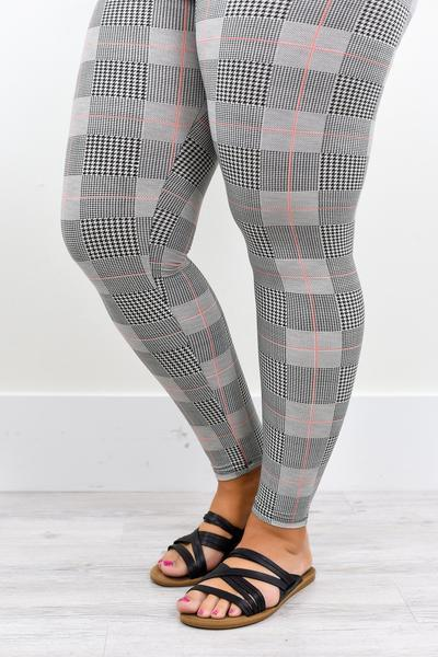 Black/White Houndstooth Printed Leggings (Sizes 12-18) - LEG2017BW