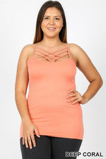 Deep Coral Caged Front (Sized) Cami - CAM1007DCO