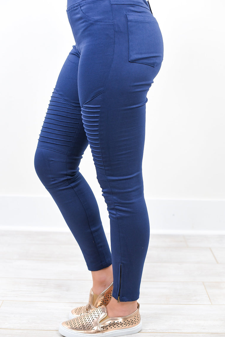 Under The Impression Navy Moto Jeggings - JEG1004NV