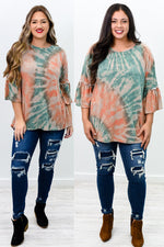 Big Plans Sage/Orange Tie Dye Top - B10097SG