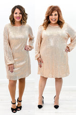 Own The Occasion Champagne Sequins Long Sleeve Dress - D3609CH
