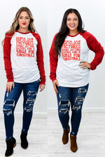 Santa Saw Your Facebook Red/White Graphic Tee - A914WH