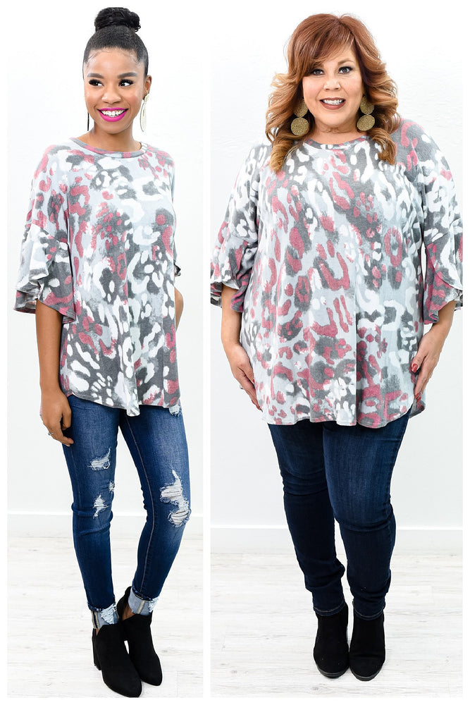 Lost In The Lights Gray/Multi Color Leopard Top - B10031GR